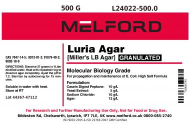 Low Salt Formula 500g Powder RPI L24030-500.0 LB Agar